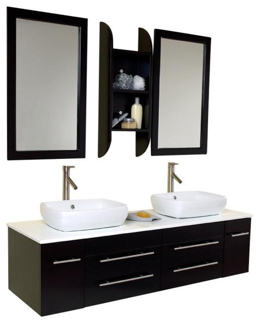 59 In Espresso Modern Double Sink Bathroom Vanity Contemporary Bathroom V