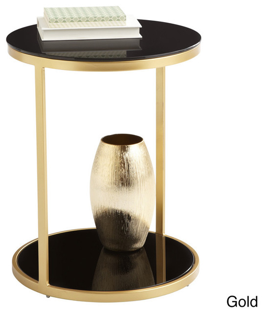 Sunpan Dakota Black Tempered Glass End Table Contemporary Side Tables End Tables By