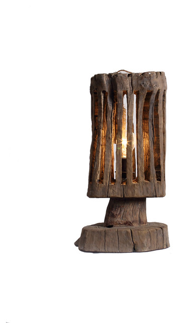 handmade driftwood shade bedside designer table lamp