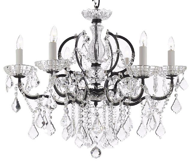 Swarovski Crystal Trimmed Th C Rococo Iron And Crystal Chandelier