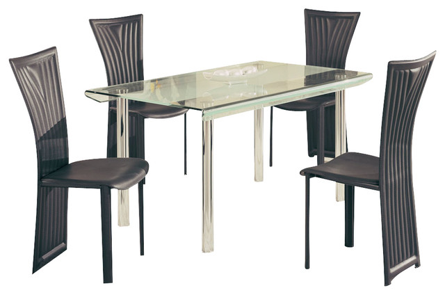 Global furniture usa a818ldt 5 piece dining room set with for Traditional black dining room sets