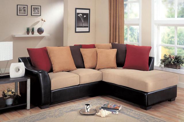 Coaster small beige microfiber leather sectional sofa for Small beige sectional sofa