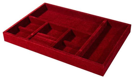 Velvet jewelry tray burgundy large contemporary jewelry for Velvet jewelry organizer trays