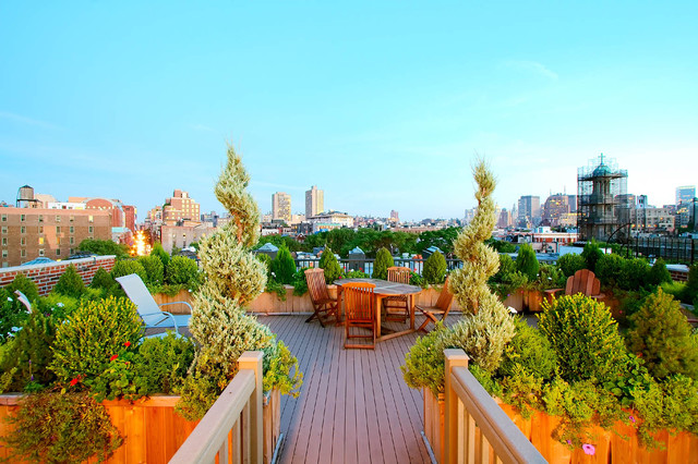 Nyc roof garden: terrace composite deck, planter boxes, container ...