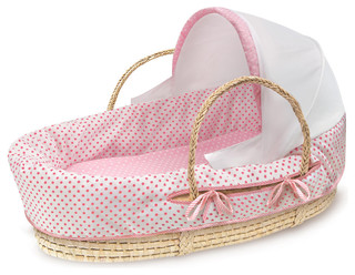 Natural Moses Basket With Canopy and Pink Polka Dot Bedding