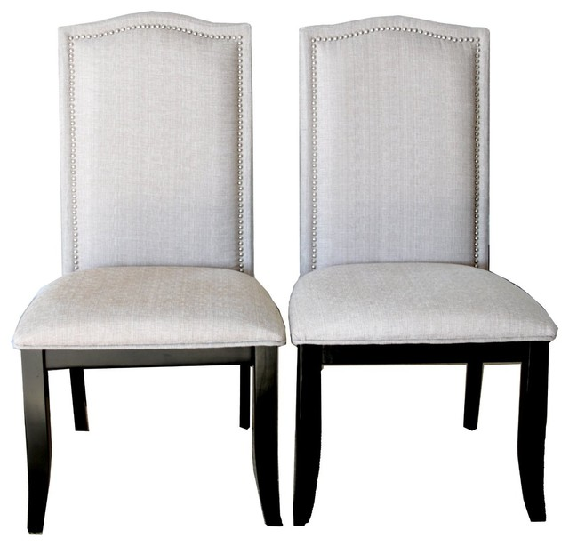Amazon Dining Chairs: Upholstered Beige Fabric Dining Chairs With Nailhead Trim