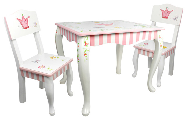Princess and Frog Hand Crafted Kids Wooden Table and 2