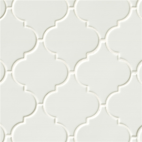 Super White Arabesque Glazed Porcelain Mosaic Tile