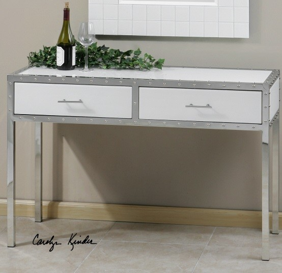 glass top console table with drawers 2
