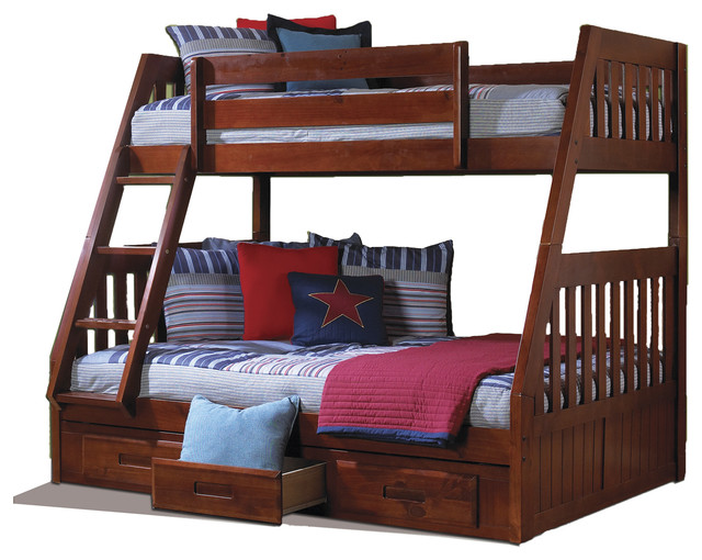 Solid pine twin over full bunk bed with drawers for Furniture of america pello full over full slatted bunk bed