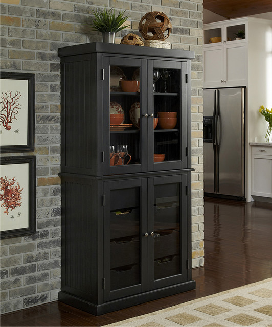 Distressed Black Nantucket China Pantry Modern Pantry Cabinets