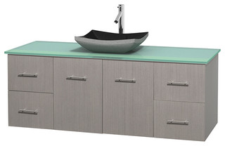 60 Single Bathroom Vanity In Gray Oak Green Glass Countertop Sink C