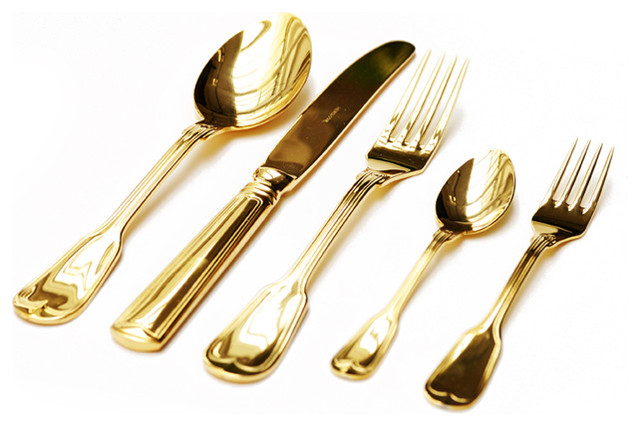 Gold Plated Cutlery Set Contemporary Flatware And