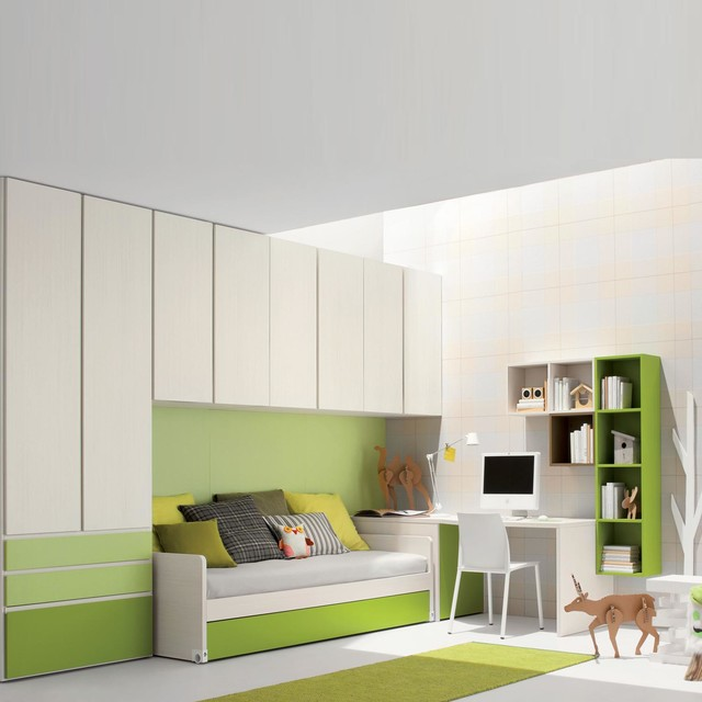 kid 39 s room space saving furniture sets green by clever