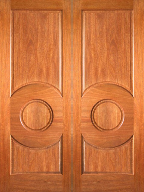 P 680 interior wood mahogany 3 panel circle panel double for All wood interior doors