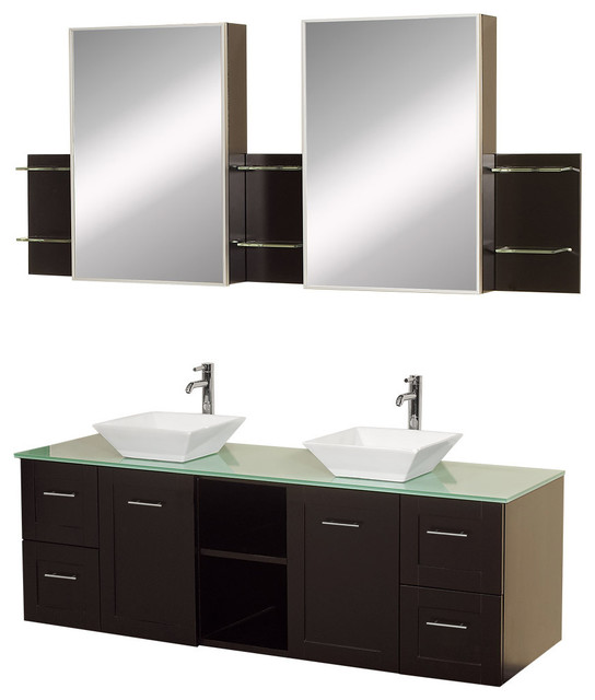 Avara Wall Mounted Double Bathroom Vanity 60 Inch Green Glass Top White Porce Contemporary