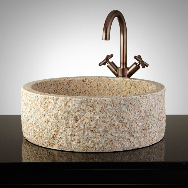 Round Granite Sink : Round Chiseled Flat-Bottom Granite Vessel Sink modern-bathroom-sinks