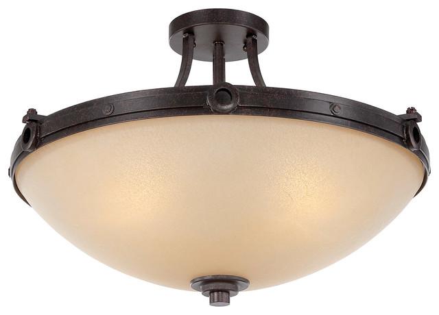 elba oiled copper semi flush mount rustic flush mount ceiling lighting. Black Bedroom Furniture Sets. Home Design Ideas