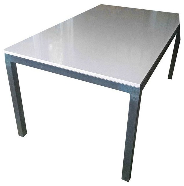 Room board parsons quartz table 60 39 x36 39 contemporary for Quartz top dining table