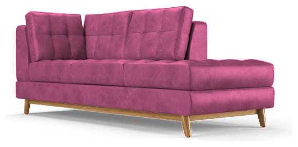 Gervin Leather Bumper Chaise Brighton Energy Pink