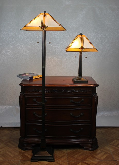 Tiffany style mission table and floor lamp set for Mission style floor lamp with table