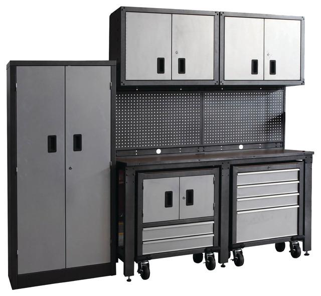 8-Piece Garage Modular Storage System, Black and Gray ...