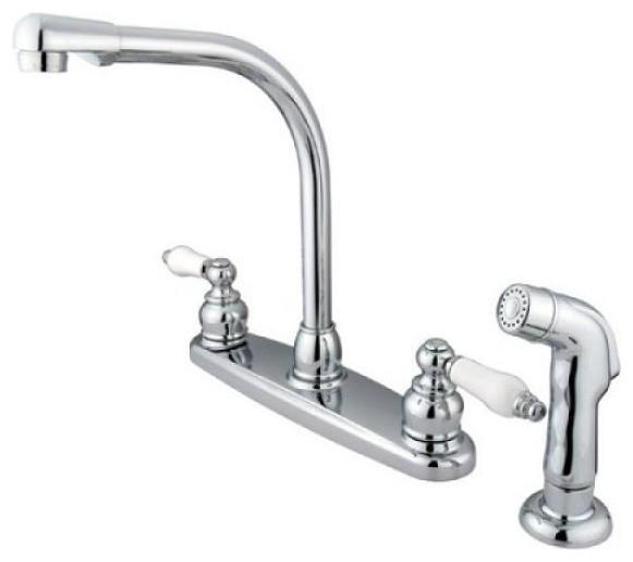 Victorian High Arch Kitchen Faucet With Non-Metallic Sprayer
