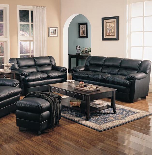 Harper overstuffed black leather 2 pcs living room set - Overstuffed leather sofa living room ...