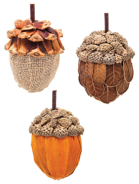 Festive Acorn Natural Fiber Christmas Ornaments Set Of 3
