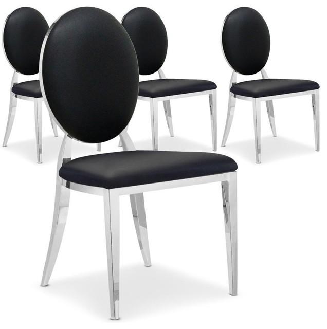 lot de 4 chaises cassandra en simili cuir noir. Black Bedroom Furniture Sets. Home Design Ideas