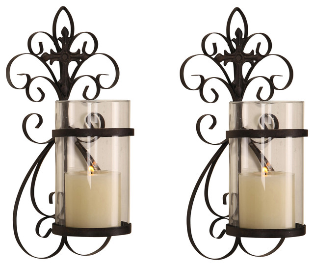Wall Sconce Pillar Candle : Adeco Scroll and Cross 1-Pillar Candle Sconces, Set of 2 - Mediterranean - Wall Sconces - by ...