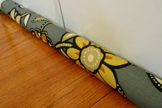 Door Draft Stopper Snake Slate Grey Yellow Floral By