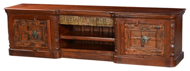 Fusion Gothic Mango and Reclaimed Wood TV Console Media Cabinet - Traditional - Entertainment ...