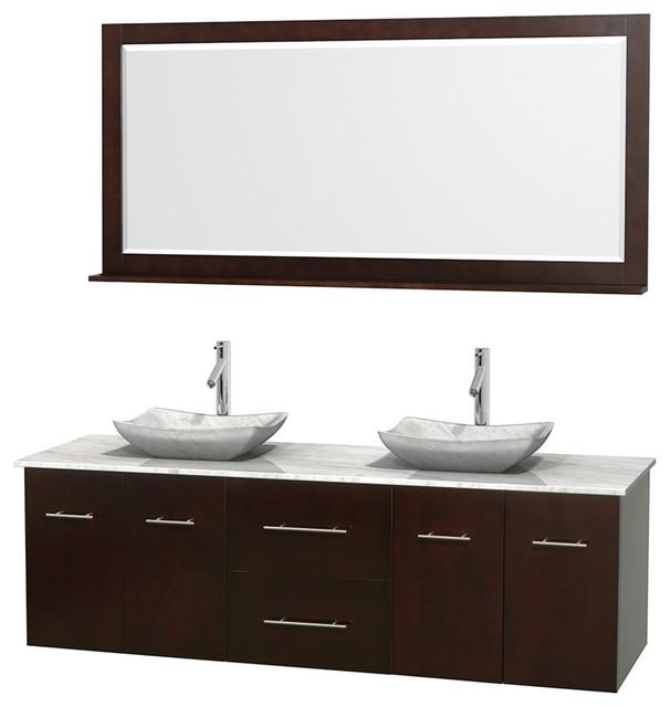 72 Double Bathroom Vanity In Espresso Marble Countertop Sinks And Mirror Contemporary