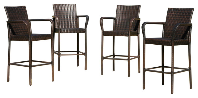 Set of 4 Stewart Outdoor Brown Wicker Barstool  : contemporary outdoor bar stools and counter stools from www.houzz.com size 640 x 316 jpeg 48kB