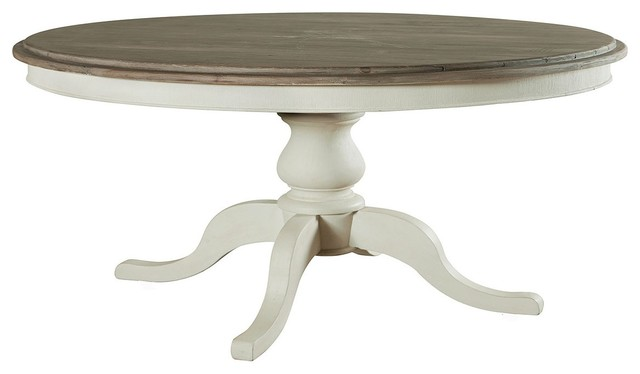 Cottage 60 Round Pedestal White Kitchen Table Beach Style Dining Ta