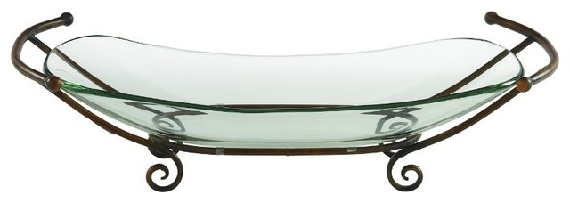 The Urban Port Fantastic Glass Bowl With Metal Stand Serving Trays