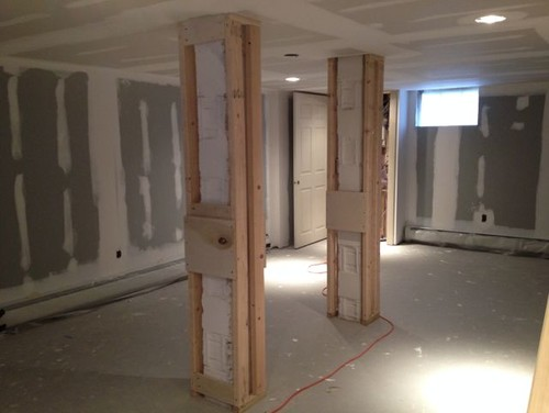 How To Wrap Support Posts In Basement Remodel