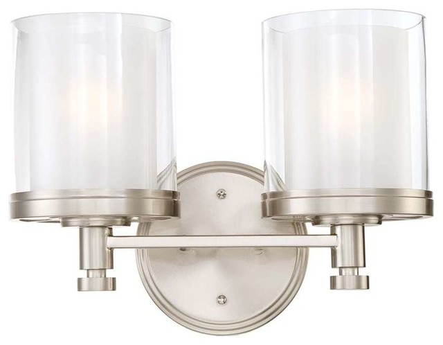 Bathroom Vanity Lights Clear Glass : Nuvo Decker 2-Light Vanity Fixture with Clear and Frosted Glass - Transitional - Bathroom Vanity ...