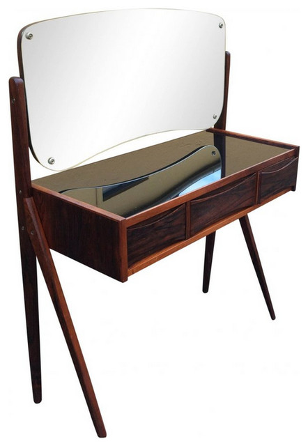 schminktisch aus palisanderholz mit spiegel mid century frisier schminktische von pamono. Black Bedroom Furniture Sets. Home Design Ideas
