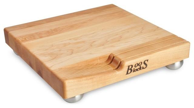 John Boos Maple Cheese Board Knife Slots Steel Bun Feet Modern Cu