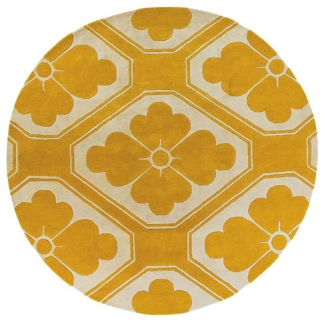 contemporary thomaspaul round 7 39 9 round yellow white area rug contemporary area rugs by. Black Bedroom Furniture Sets. Home Design Ideas