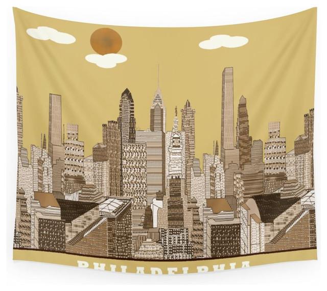 Society6 Philadelphia Skyline Vintage Wall Tapestry Large