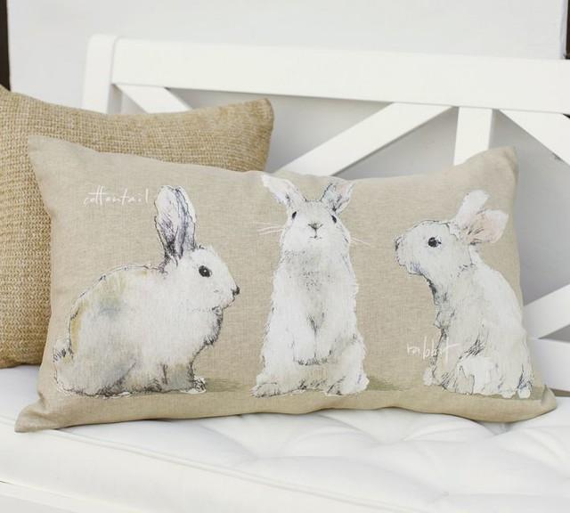 Watercolor Bunny Lumbar Pillow Cover Contemporary