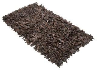 tapis en cuir brun 140x200 cm mut contemporain tapis de d coration par beliani france. Black Bedroom Furniture Sets. Home Design Ideas