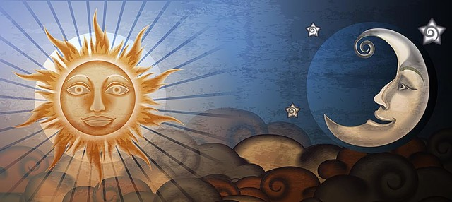 Sun And Moon Fresco Panorama Wall Mural Self Adhesive