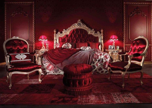 Red Romantic Traditional Italian Style Bedroom Furniture