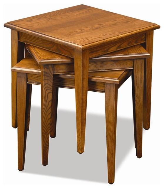 Stacking table in medium oak finish set of