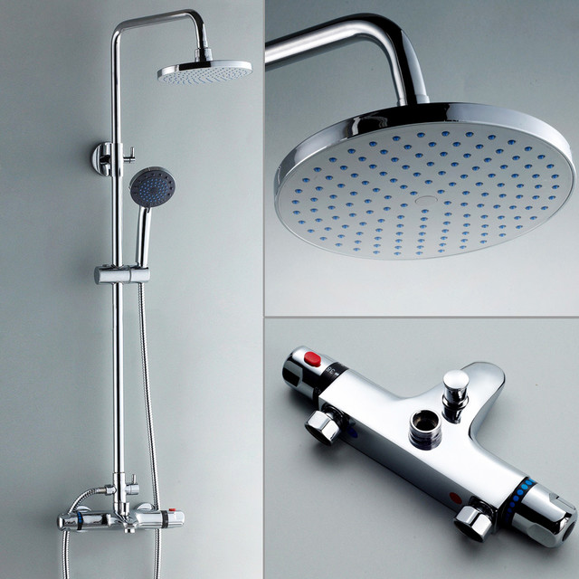 Modern thermostatic rain shower exposed system modern for Body spray shower systems