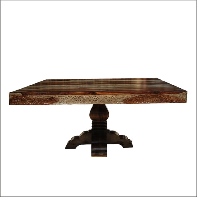 54 Quot Rustic Solid Wood Hand Carved Pedestal Square Dining